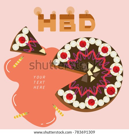 Happy Birthday Black Forest Cake Text Stock Vector Hd Royalty Free