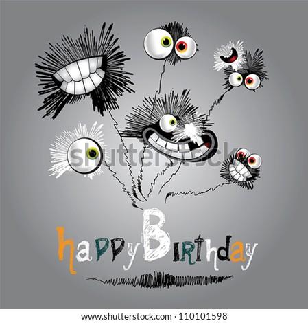 Happy Birthday bouquet of flowers - stock vector