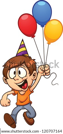 Happy birthday boy. Vector clip art illustration with simple gradients. All in a single layer. - stock vector