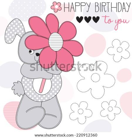 happy birthday bunny vector illustration - stock vector