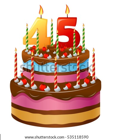 Cartoon Birthday Cake With Seventeen Candles