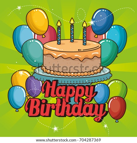 Happy Birthday Cake Balloons Design Stock Vector 704287369