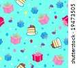 Happy Birthday Cake and Presents Seamless Repeat Pattern Vector Illustration - stock vector