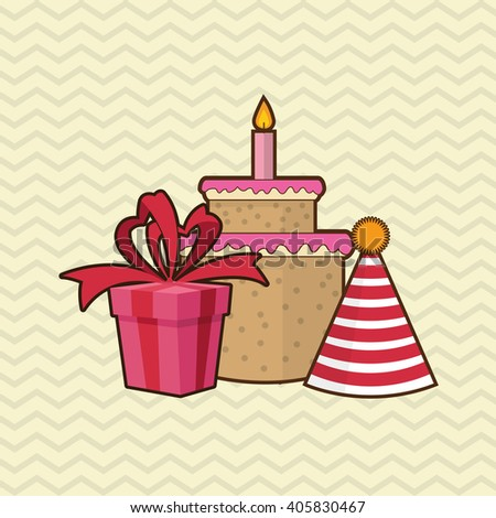 Happy birthday cake design , vector illustration