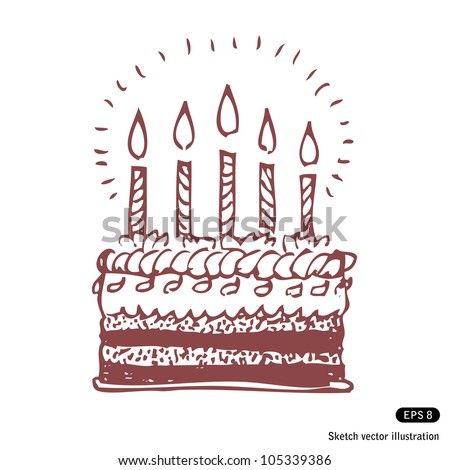 Happy Birthday Cake Hand Drawn Sketch Stock Vector 105339386