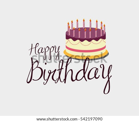 Happy Birthday Cake Icon Vector Illustration Stock Vector 542197090