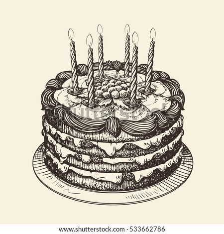 Happy Birthday Cake Burning Candles Sketch Stock Vector ...