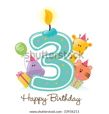 Happy Birthday Candle and Animals Isolated over white - stock vector