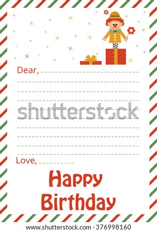 happy birthday card and clown and present box - stock vector