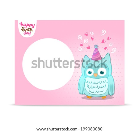 Happy Birthday card background with cute cartoon owl. Vector holiday party template. Greeting postcard image.