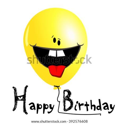 Happy Birthday card balloons smile - stock vector