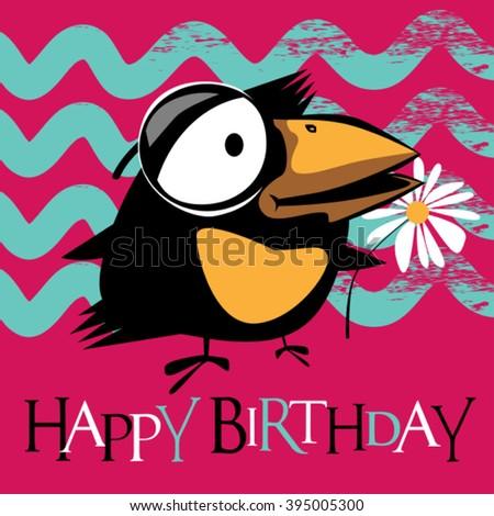 Happy Birthday card birds - stock vector