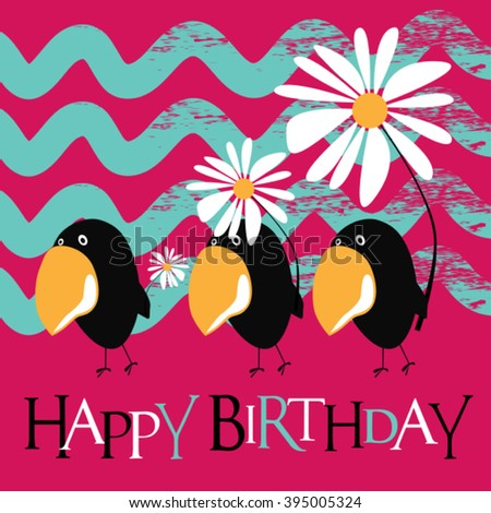 Happy Birthday card birds smile - stock vector