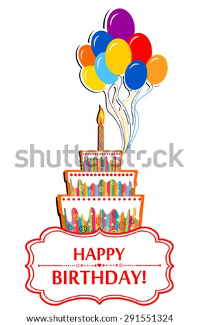 Happy birthday card. Birthday cake and Colorful Party Balloons isolated on White background. Vector Illustration