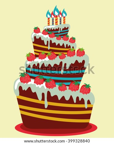 Happy birthday card. Birthday cake. Colorful birthday. Vector Illustration