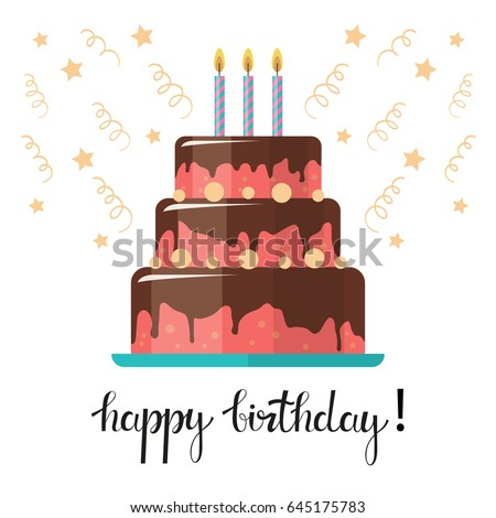 Happy birthday card birthday cake candles stock vector 645175783 happy birthday card birthday cake with candles and confetti isolated on white background bookmarktalkfo Image collections