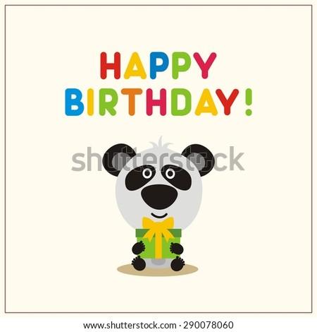 happy birthday card, cartoon panda with gift - stock vector