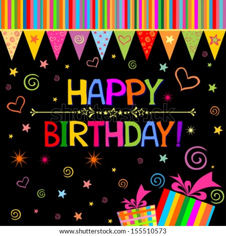 Happy Birthday Card Celebration Black Background Vector – Birthday Card Gift