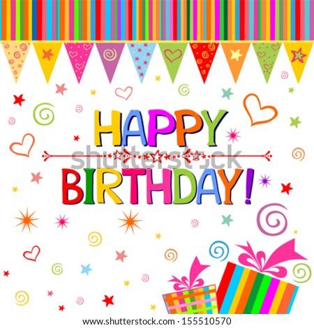 Vector Illustration Birthday Card Vector 139423118 – Text Birthday Card