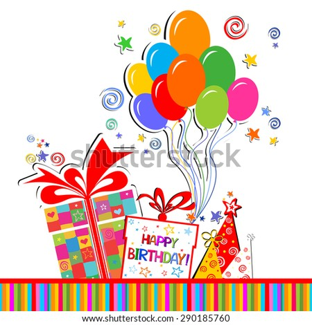 Happy birthday card. Celebration white background with Birthday gift boxes, balloon, colored carnival caps and place for your text. vector illustration - stock vector