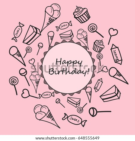 Happy Birthday Card Childrens Drawings Sweets Stock Vector Royalty