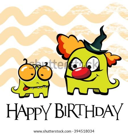 Happy Birthday card clown - stock vector