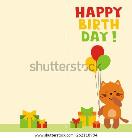 Happy Birthday Card Cute Calf Balloons Vector 262867484 – Happy Birthday Card Cute