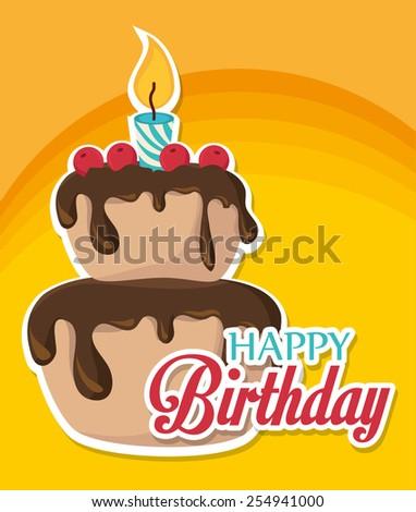 Happy Birthday card design, vector illustration. - stock vector