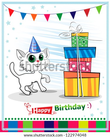Happy birthday card design. White cat - stock vector