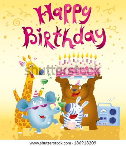 Happy Birthday Card Design Cute Animals Stock Vector Royalty Free