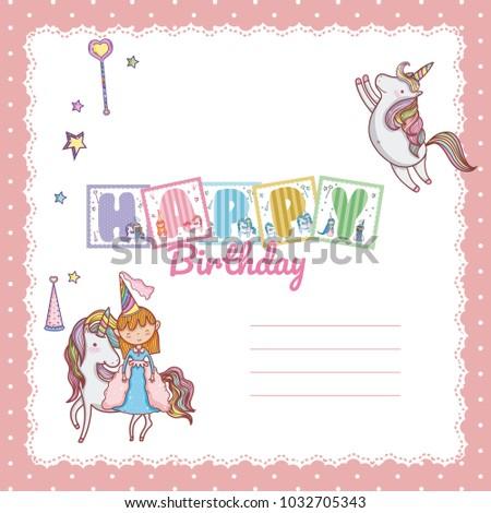 Happy Birthday Card Little Girl Stock Vector 1032705343 Shutterstock