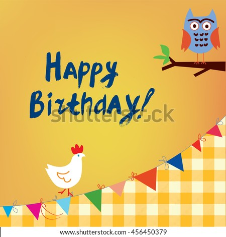 Happy birthday card kids owl chicken stock vector 456450379 happy birthday card for the kids with owl and chicken funny vector illustration design bookmarktalkfo Gallery