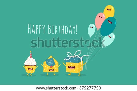 Happy birthday card. Funny birthday gift with balloons and cupcake with invitation envelope. Vector illustration. - stock vector