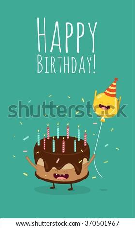 stock-vector-happy-birthday-card-funny-cake-and-balloon-friends-vector ...