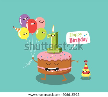 Happy birthday card. Funny birthday cake and balloon friends. Vector ...