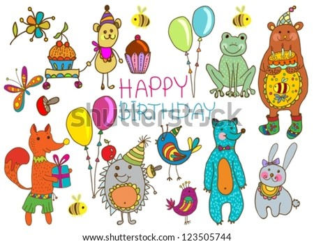 Happy birthday card, funny cartoon set with mouse, fox, bear, wolf, frog, hedgehog and hare, vector - stock vector