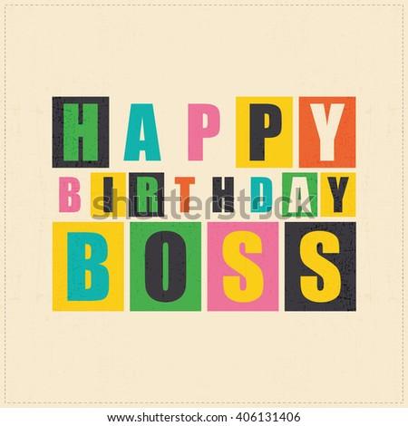 Happy Birthday Card Happy Birthday Boss Stock Vector 406131406