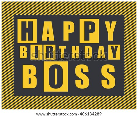 Happy Birthday Card Happy Birthday Boss Vector 406134289 – Happy Birthday Cards for Boss