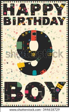 Happy Birthday Card Happy Birthday Boy Stock Vector 344618729