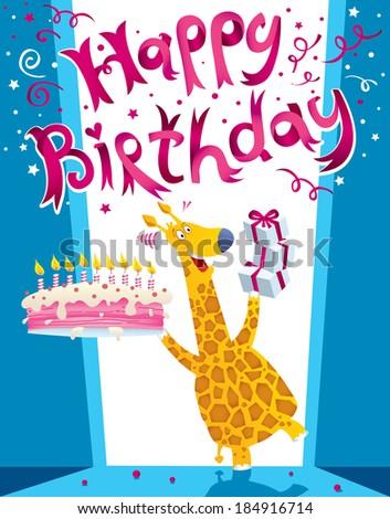 Happy birthday card! Happy Giraffe! - stock vector