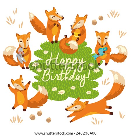 Happy birthday card in cartoon style. Cute foxes in vecto