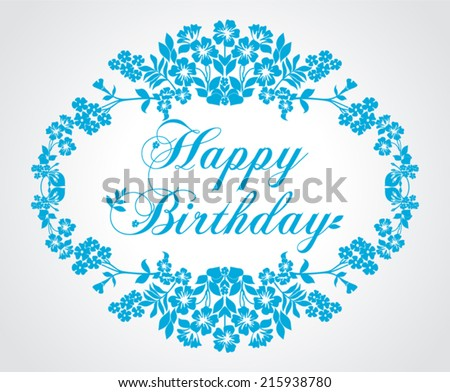 Happy birthday card in retro style. Blue and white color. Vector illustration.  - stock vector