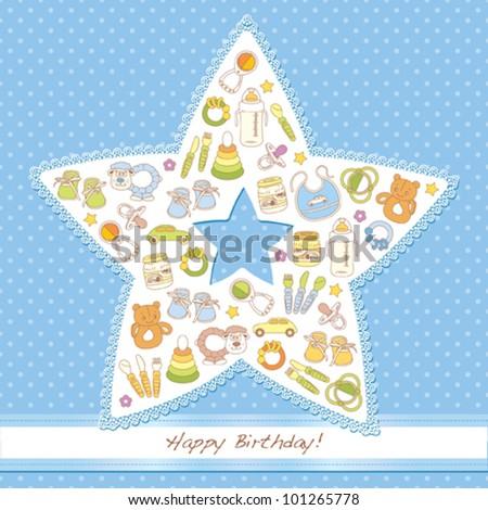 Happy birthday card, it's a boy - stock vector