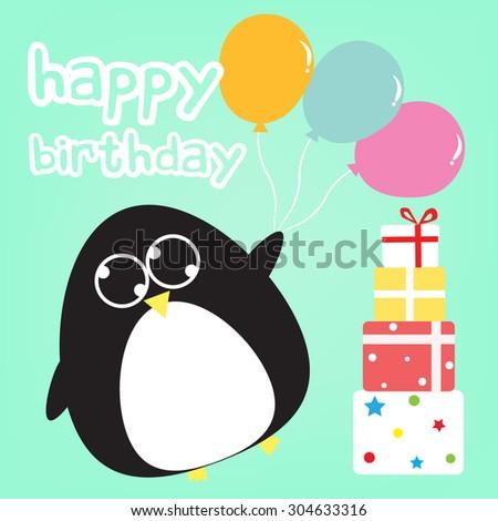 Happy Birthday Card Penguin Stock Vector 304633316 Shutterstock