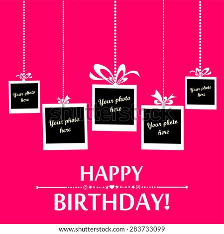 Happy Birthday Card Photo Frame Vector Stock Vector Royalty Free