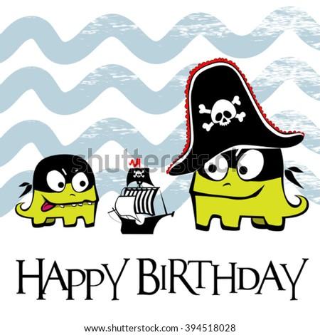 Happy Birthday card pirate - stock vector