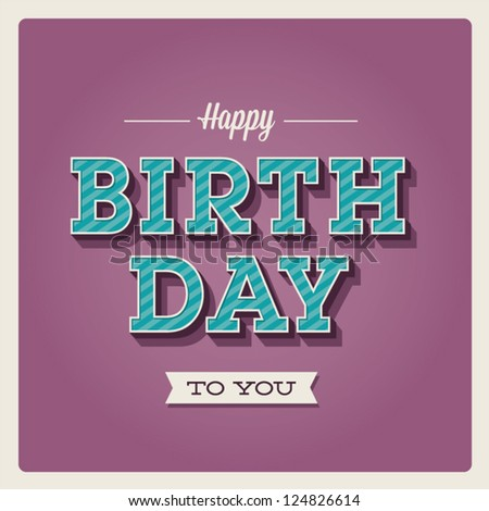 Happy Birthday Card Retro Vintage Typography Vector – Birthday Card Font