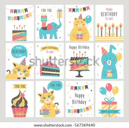 Happy Birthday Card Set Vector Illustration Stock Vector 567369640