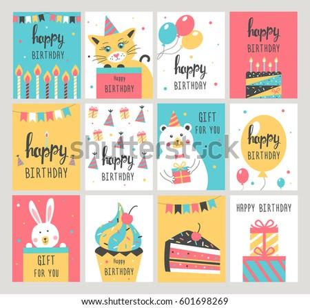 Happy birthday card set vector illustration stock vector 601698269 happy birthday card set vector illustration bookmarktalkfo Images