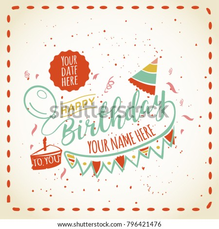 Happy Birthday Card Space Your Name Stock Photo Photo Vector